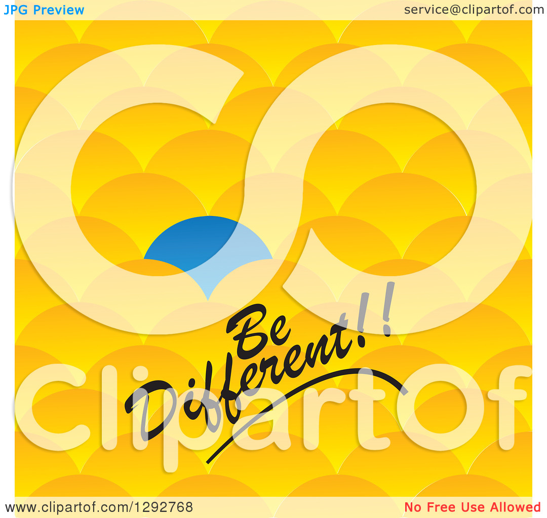 Clipart of a Blue Scale or Scallop Standing out from Other Yellow.
