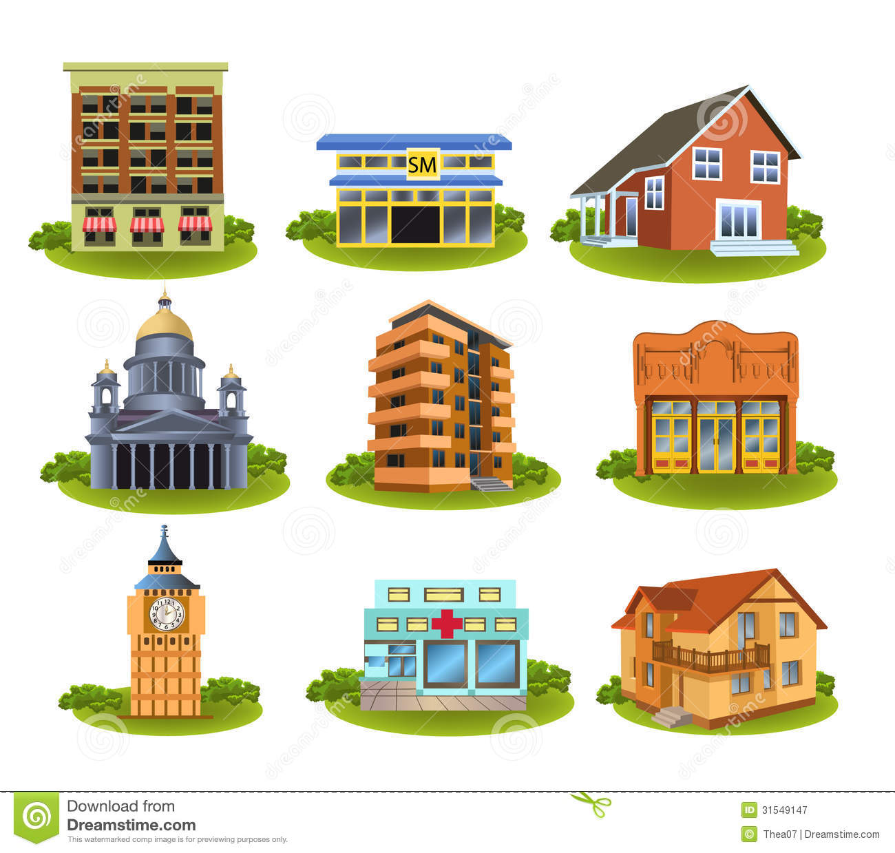 Pictures Of Different Community Places Clipart.