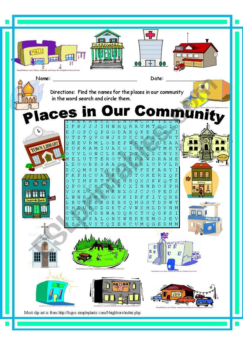 Places in Our Community WordSearch.