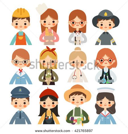 big set of children with different professions. cute little.
