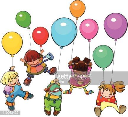 Happy kids different races. Clipart Image.