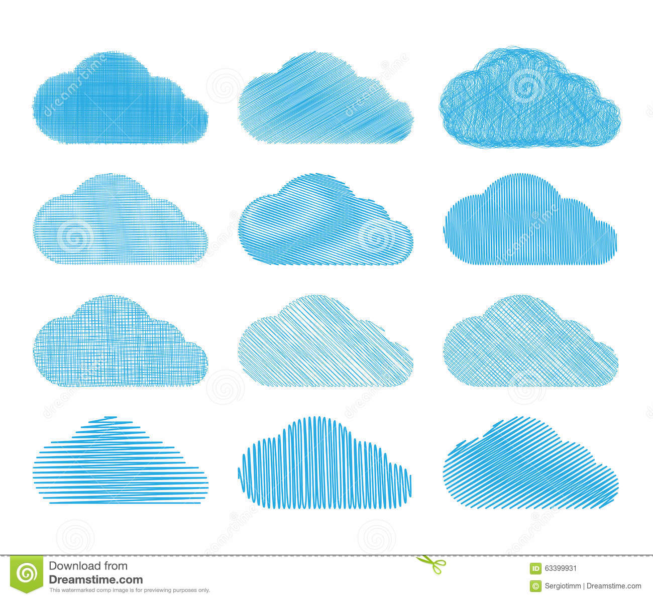 Set Of Vector Clouds With Different Types Of Pencil Shading. Stock.