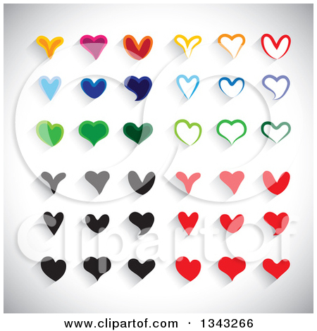 Clipart of Colorful Heart App Icon Design Elements over Shading 2.