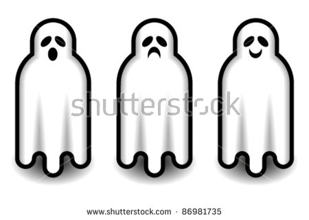 Three Cute Iconic Ghosts With Three Different Expressions And.