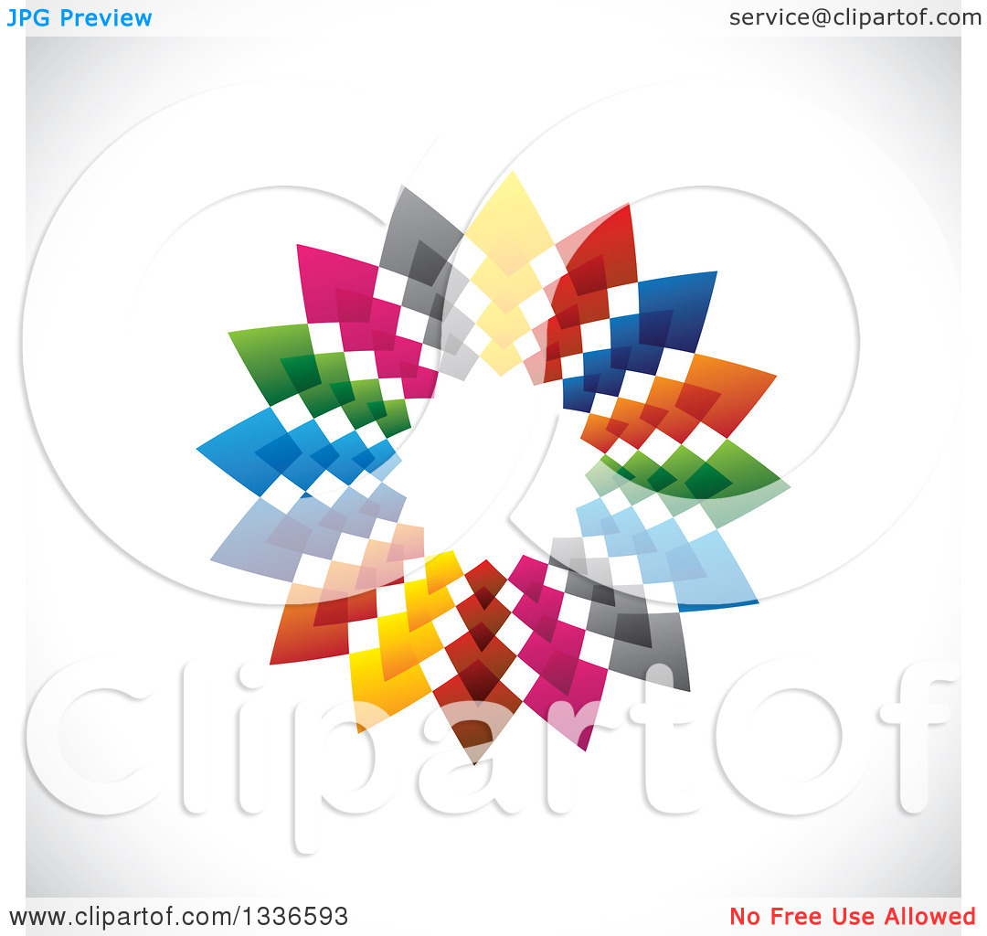 Clipart of a Colorful Circle Logo of Arrows Pointing Outwards on.