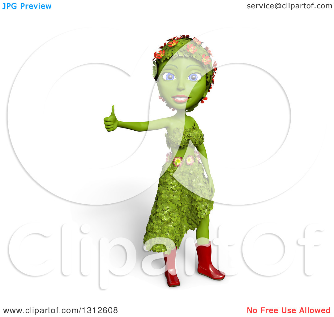 Clipart of a 3d Green Nature Woman Wearing Leaves and Flowers.