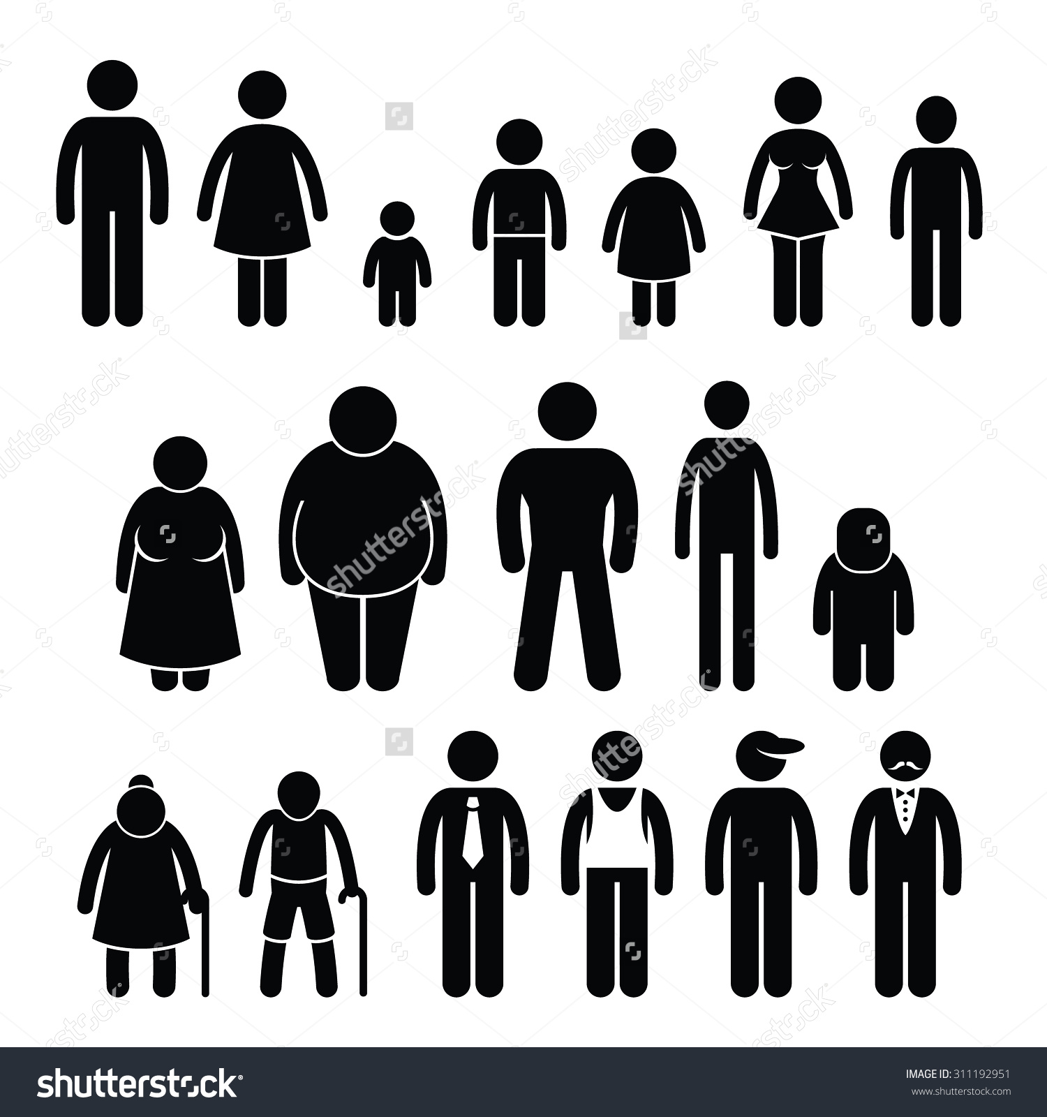People Character Man Woman Children Age Stock Vector 311192951.