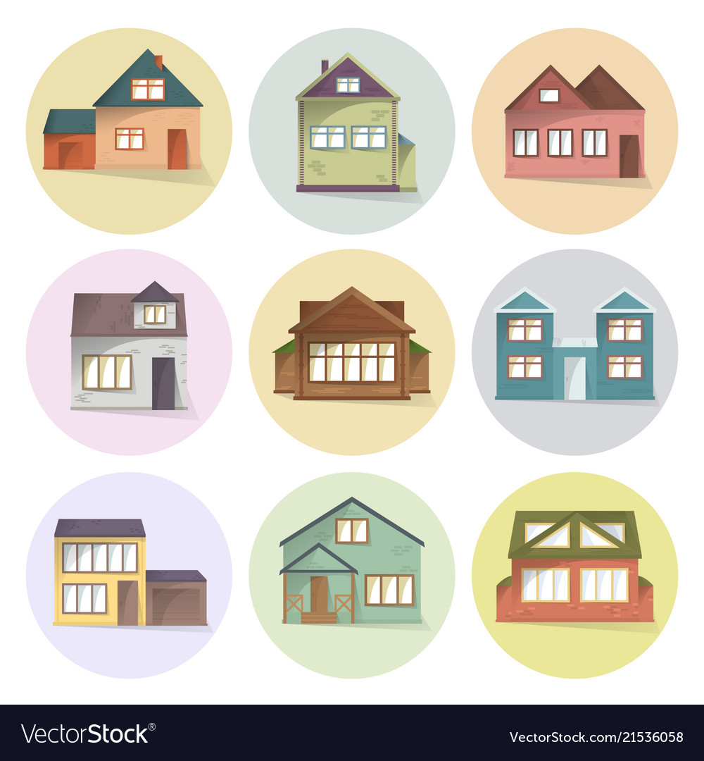 House icons set different type of houses.