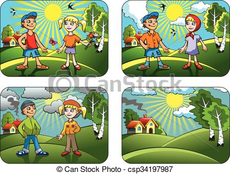 Clipart Vector of Different weather conditions.