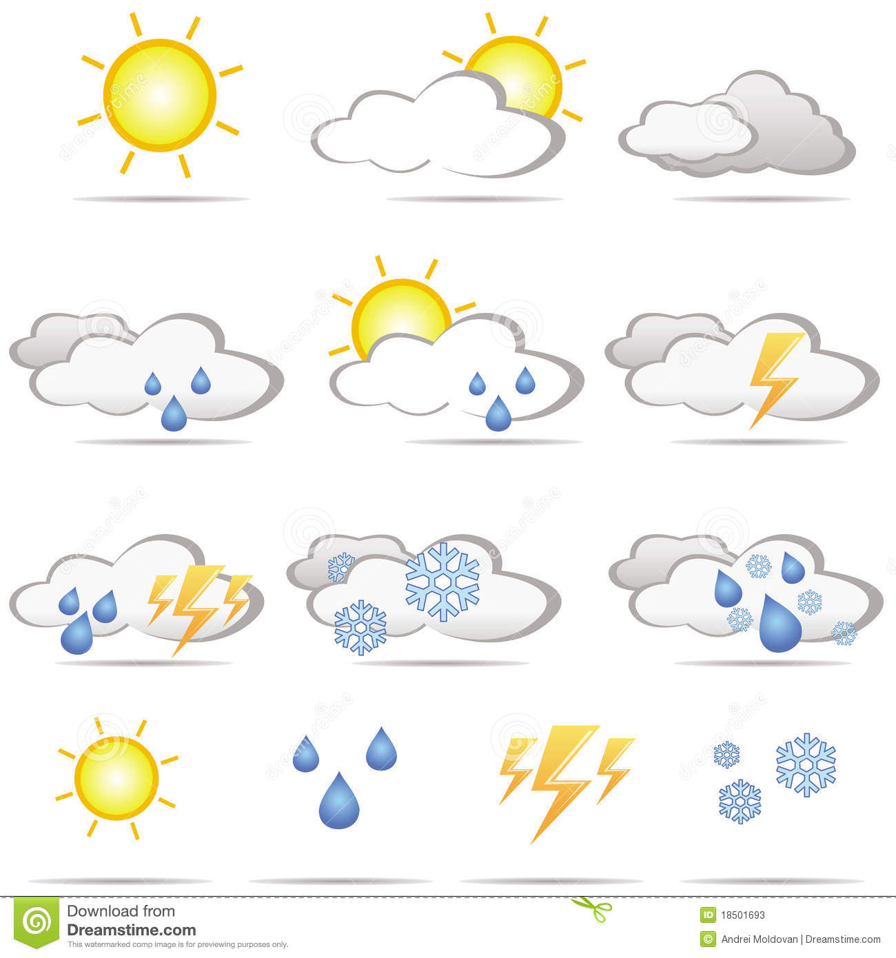 Set Of Different Weather Icons Stock Photos.