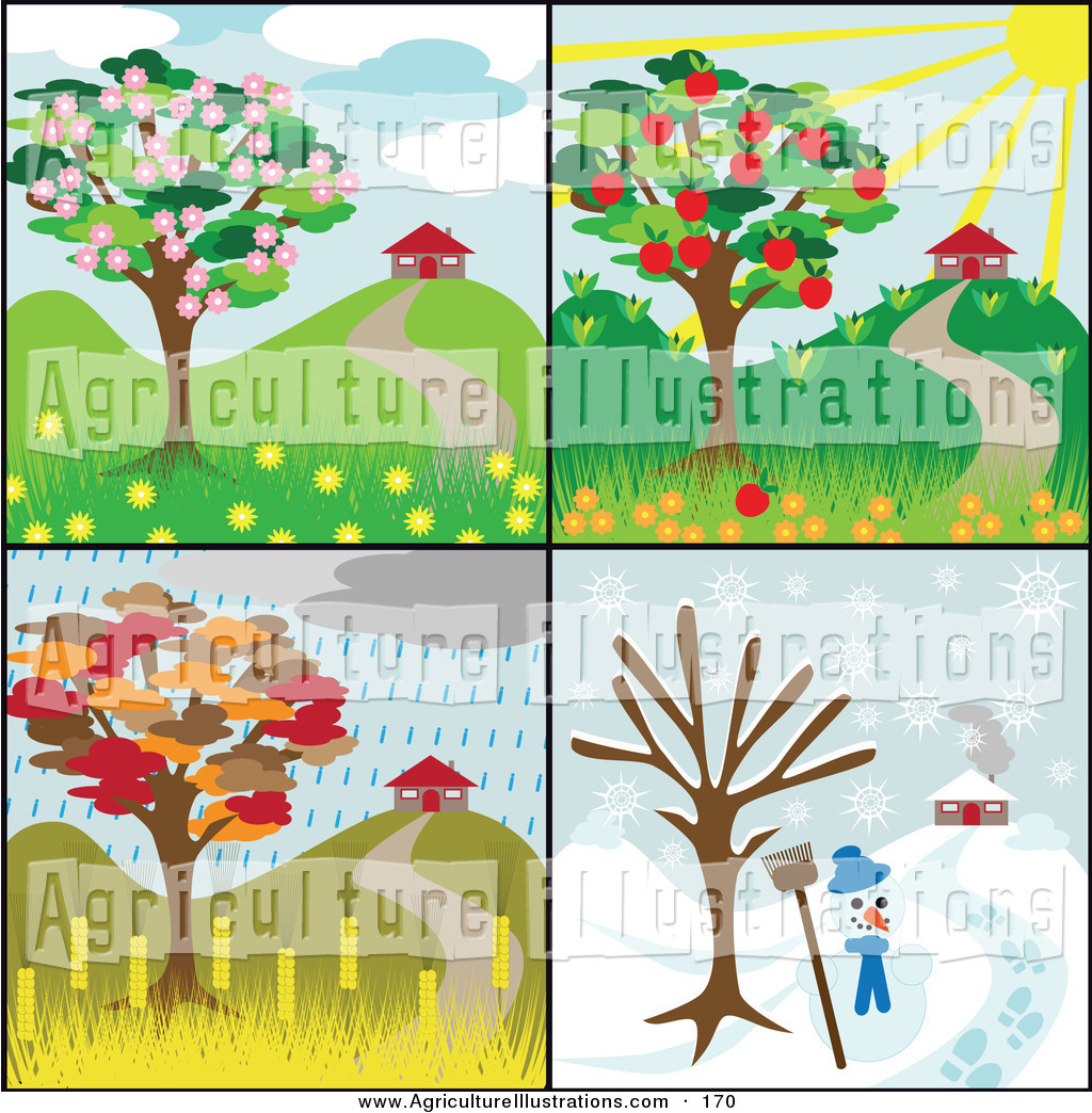 Agriculture Clipart of a Collage of 4 Seasonal Tree Scenes with.