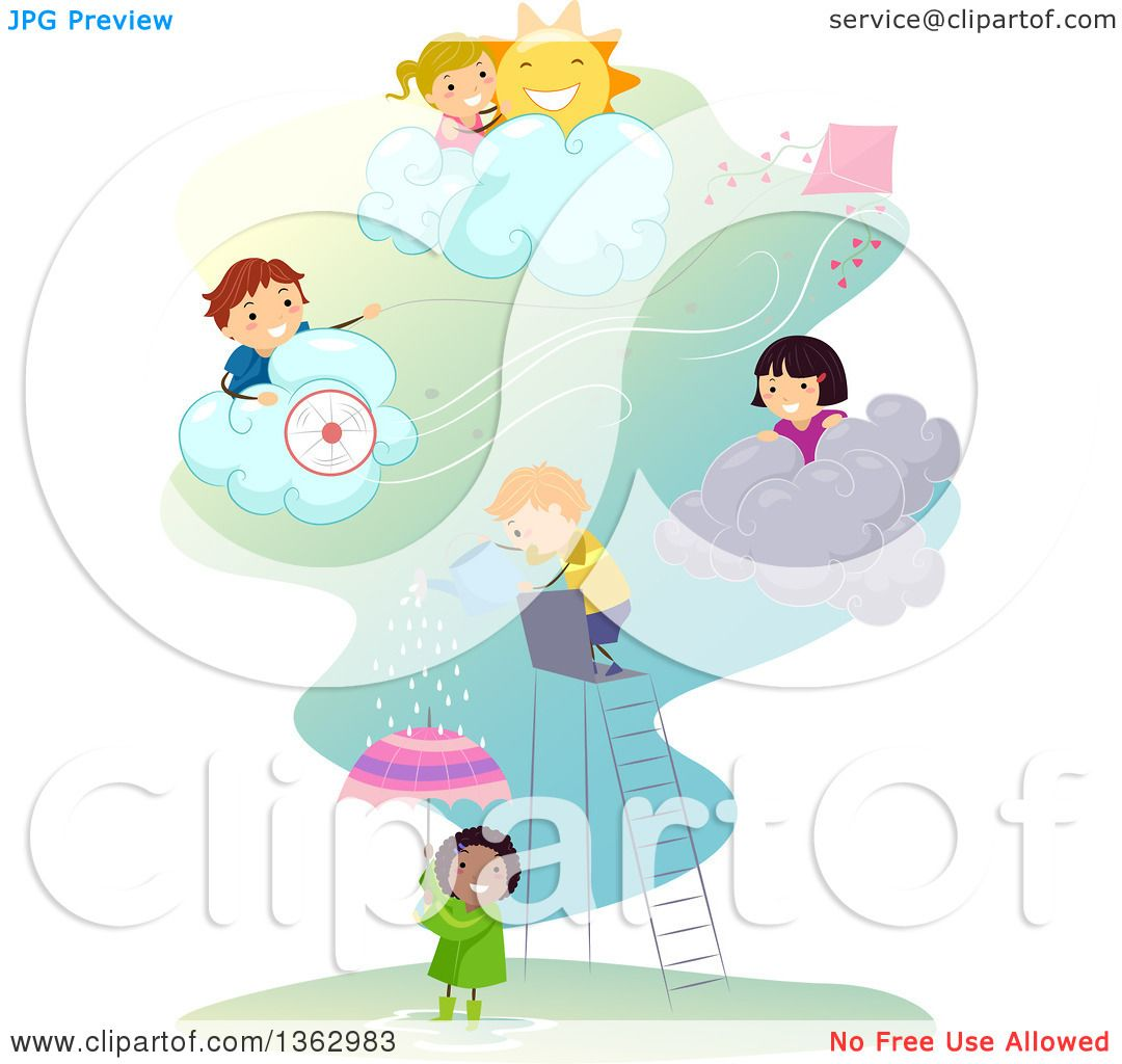 Clipart of Children Playing in Different Weather Conditions.