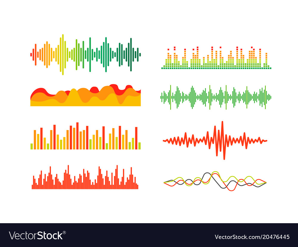 Different color sound waves set clipart.