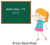 Clip Art Vector of Children solving math problems illustration.