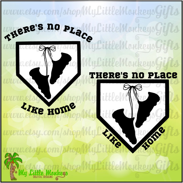 Softball Baseball Design There's No Place Like Home Cleats Clipart.
