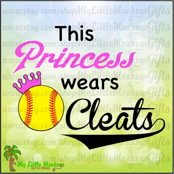 Softball Design This Princess Wears Cleats Digital Clipart Cut.