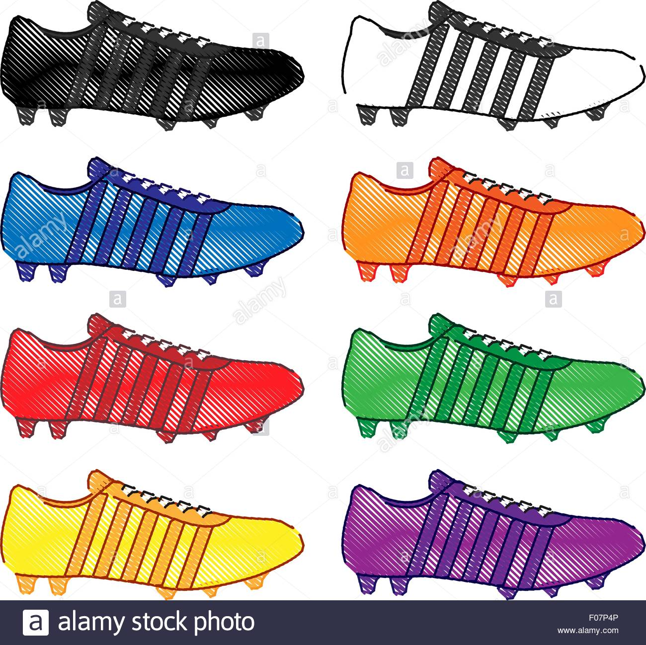 Football Cleats with Stripes in Different Colours Black White Blue.