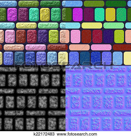Drawing of Glazed tiles seamless generated texture (with diffuse.