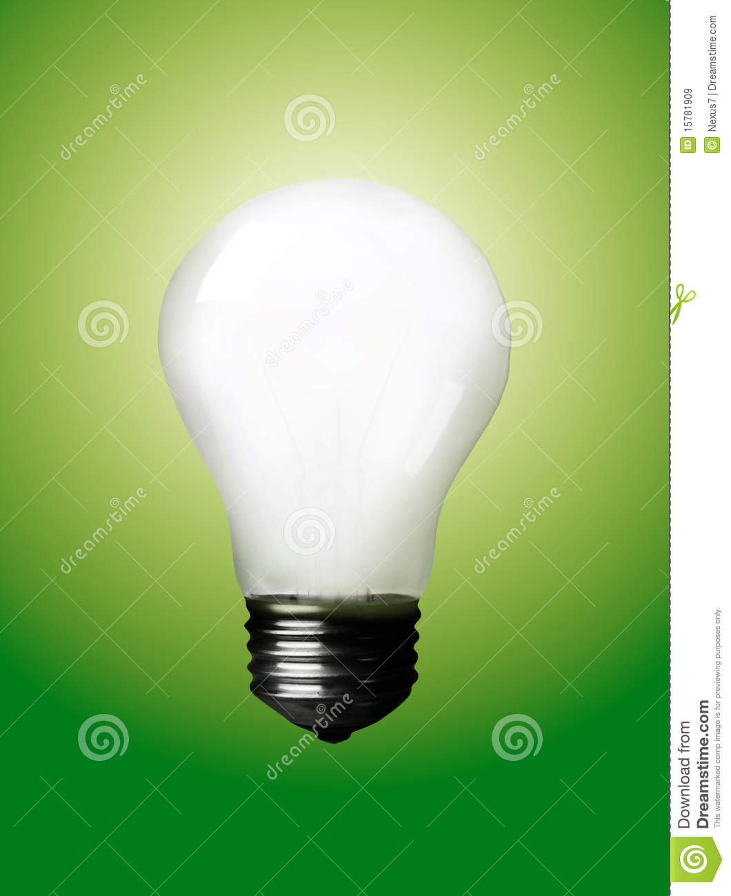 Diffused Light Bulb On Green Royalty Free Stock Images.