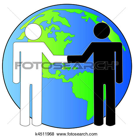 Stock Illustration of multi colored hands touching globe together.