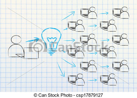 Clip Art of diffusion and exchange of ideas through the internet.