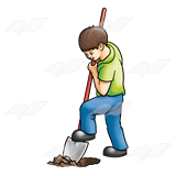 Kids digging clipart