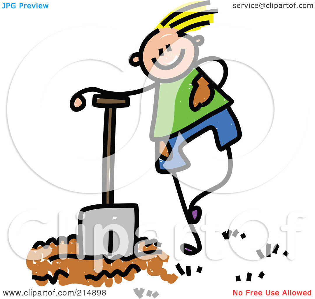Clipart Of Boy With Shovel.