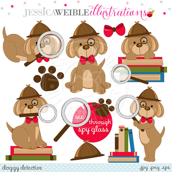 Doggy Detective Digital Clipart.