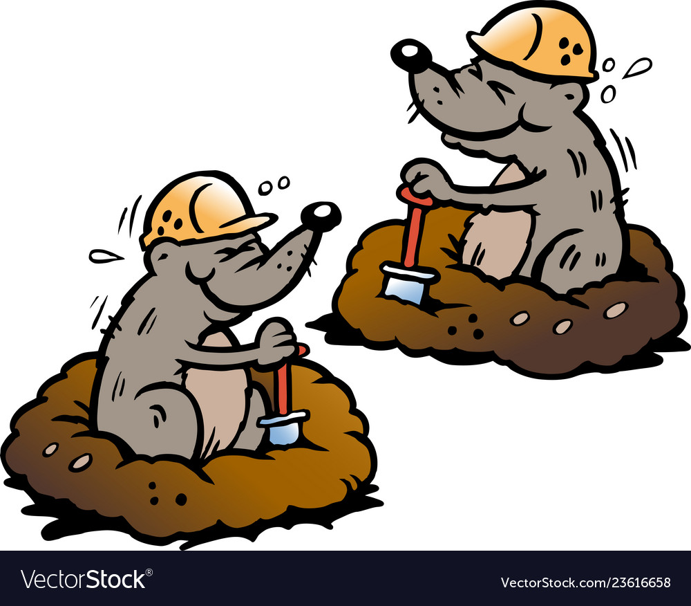 Cartoon of two mole digging holes in the ground.