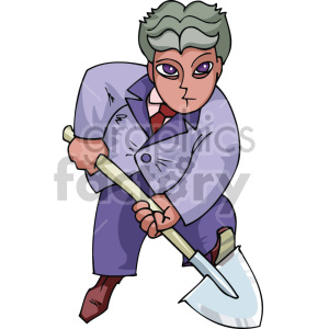 man digging a hole clipart. Royalty.