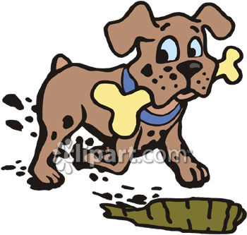 Dog Burying a Bone Clip Art.