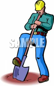 Free Clipart Image: A Construction Worker Digging a Hole.