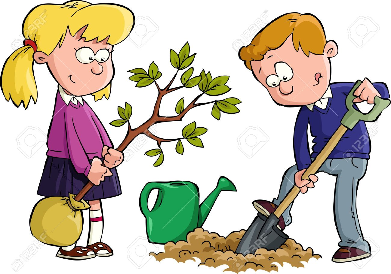 The Children Planted A Tree Vector Illustration Royalty Free.