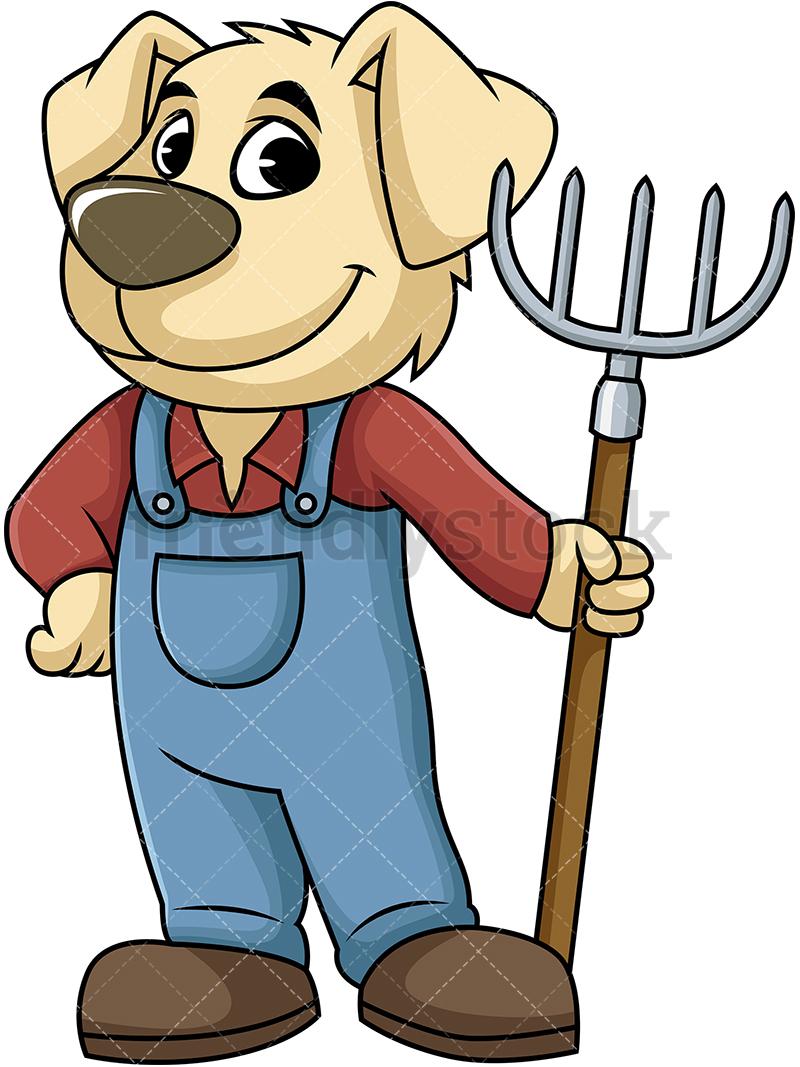 Dog Farmer Holding Digging Fork.
