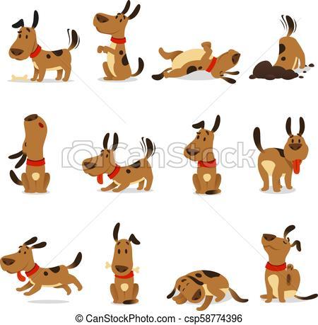 Cartoon dog set. Dogs tricks and action digging dirt eating pet food  jumping sleeping running and barking vector illustration.