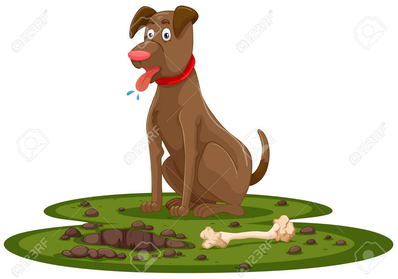 A Cute Dog Digging Bone illustration.