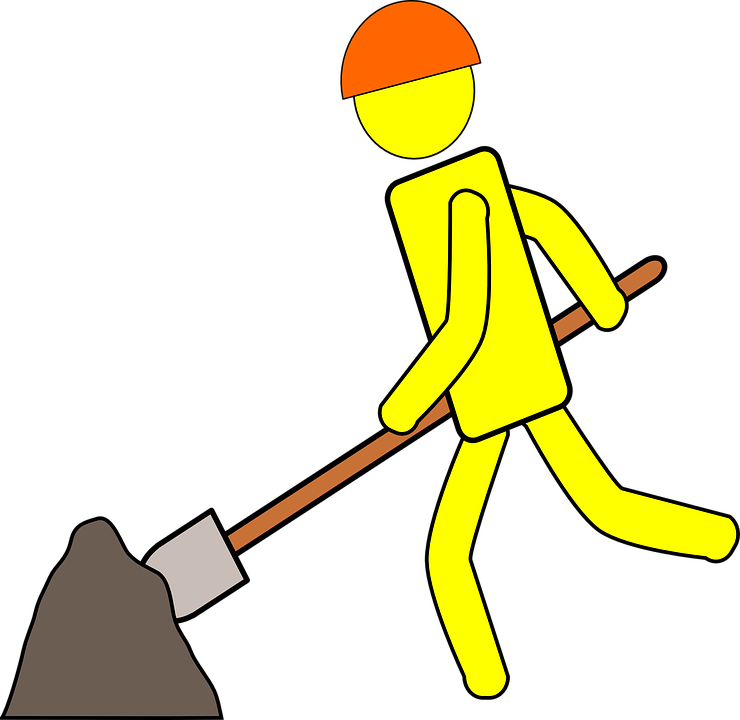 Free vector graphic: Worker, Digging, Construction, Work.