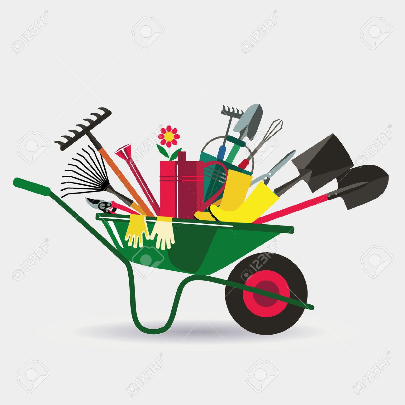 Organic Farming. Wheelbarrow With Tools To Work In The Garden.