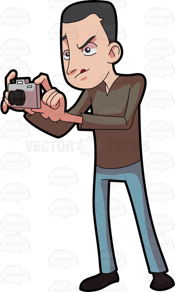 A Man Taking Photos Using His Digicam Cartoon Clipart.