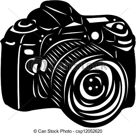 Vector Illustration of Black digital camera.