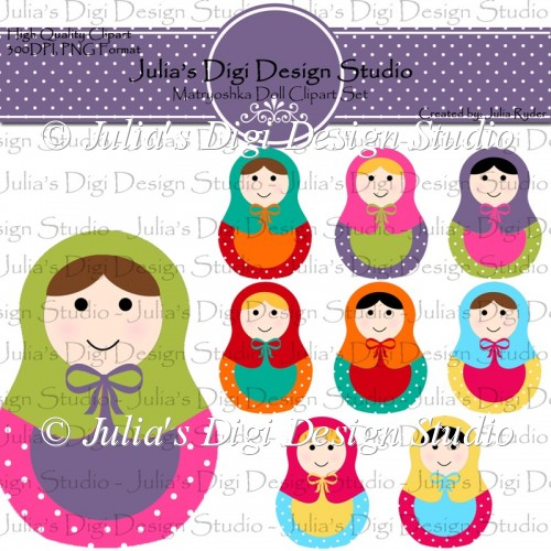 Matryoshka Doll Clipart Set.