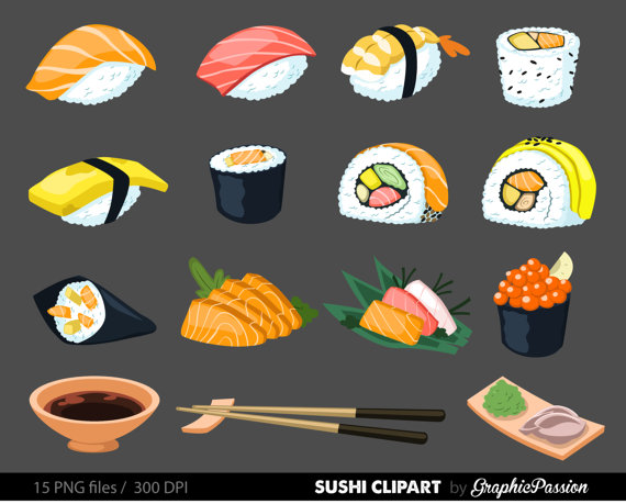 Sushi Digital Art Set Clipart Commercial Use by GraphicPassion.