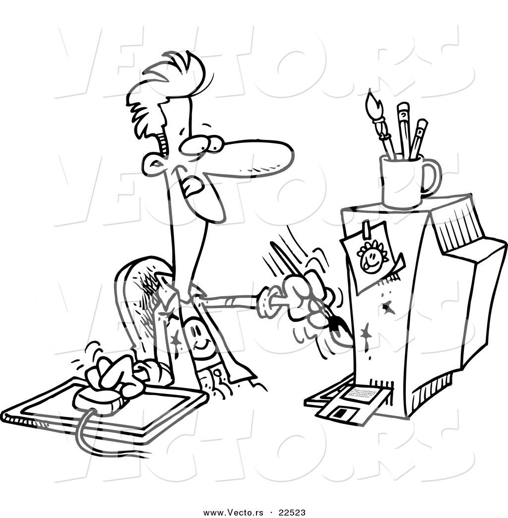 Vector of a Cartoon Digital Artist Man.