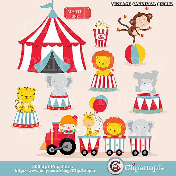 Vintage Carnival Circo Digital art / Animaleds de Circo clip art.