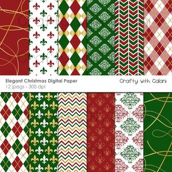 Christmas digital paper, Christmas digital background, Christmas Clipart.