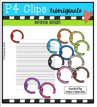 P4 RAINBOW Binder Rings {P4 Clips Trioriginals Digital Clip Art}.