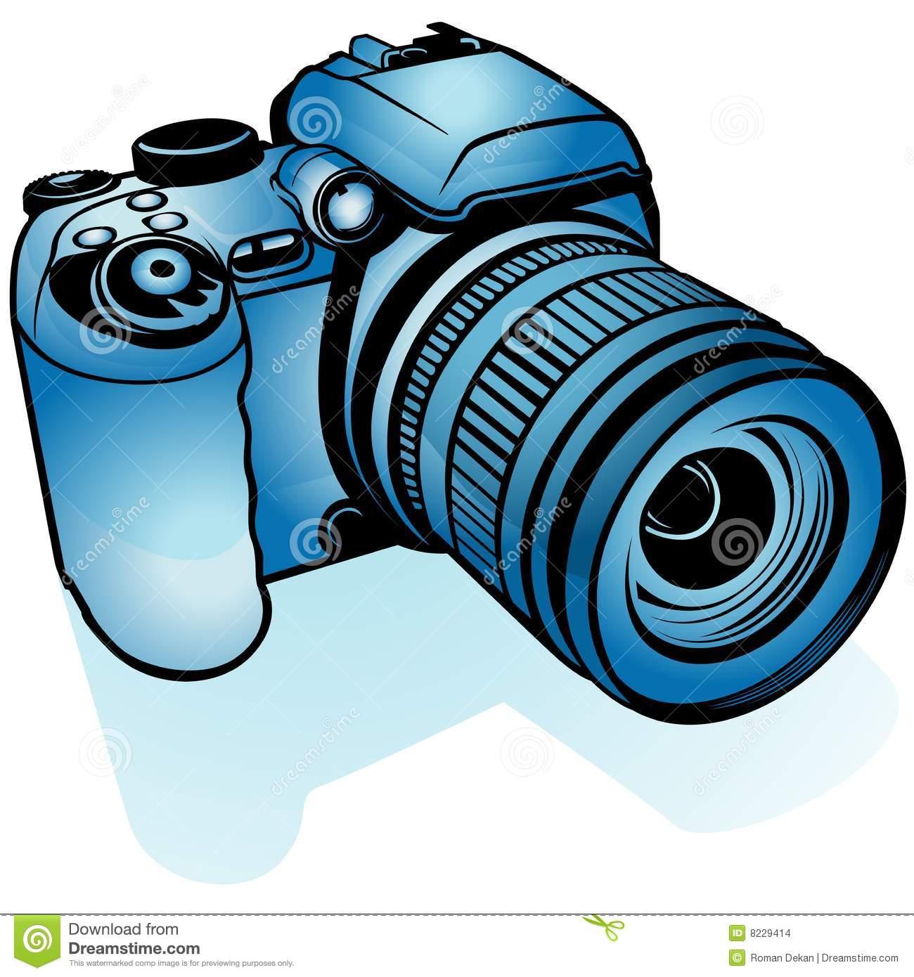 Blue Digital Camera stock vector. Illustration of clipart.