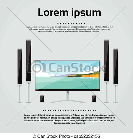Clipart Vector of Screen Tv Home Digital Cinema Audio Speaker Set.