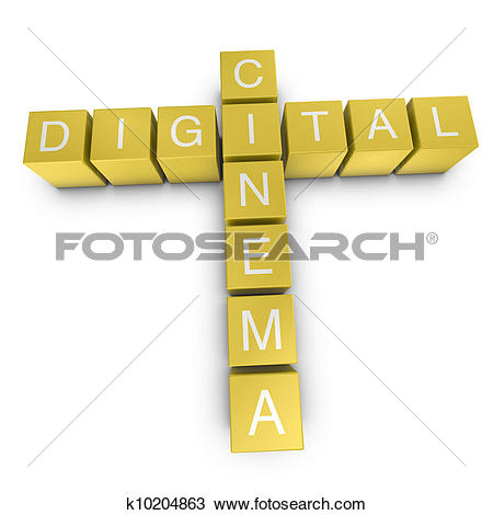 Drawing of Digital cinema 3D crossword on white background.