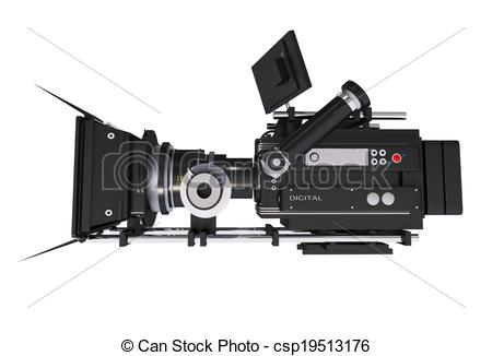 Stock Illustrations of Cinema Camera Side View.